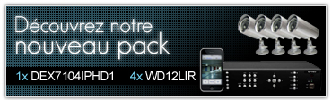 Le pack 4 Caméras IR et 1 Enregistreur numérique.