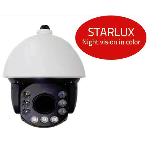 Dôme PTZ IP extérieur STARLUX - vision de nuit en couleur - Zoom optique x20 - Portée IR 200 mètres - 4.7 à 90 mm