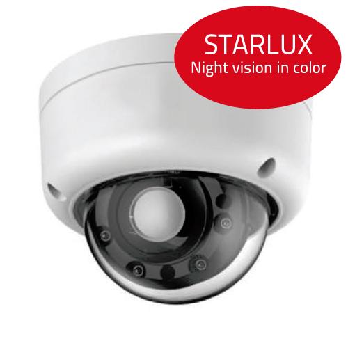 Dôme IP extérieur STARLUX - vision de nuit en couleur - IP 66 - Portée IR 30 mètres - 3 à 12 mm